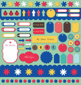 Set of cute scrapbook elements — Stock Vector