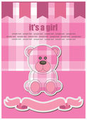 Cute bear toy greeting card — Stock Vector
