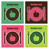 Set of healthy food cards — Stock Vector