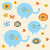 Childlike pattern with cute elephant — Stock Vector