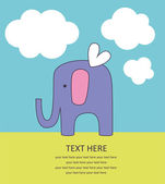 Cute greeting card with elephant — Stock Vector