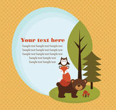 Forest animal card — Vector de stock