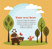 Forest animal card — Stockvector