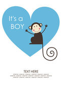 Cute baby boy shower with fun monkey. vector illustration — Vector de stock