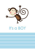 Cute baby boy shower with fun monkey. vector illustration — Stok Vektör