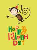 Cute happy birthday card — Vettoriale Stock