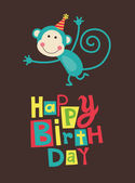 Cute happy birthday card — Stockvector