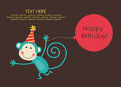 Cute happy birthday card — Stock vektor