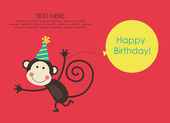 Cute happy birthday card — 图库矢量图片