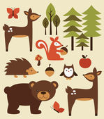 Forest animals collection — Stock Vector