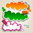 Colorful bubbles for speech on chequered sheet — Stock vektor
