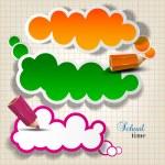 burbujas coloridas para discurso en hoja de cuadros — Vector de stock