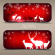 Elegant Christmas banners with deers.  — Stock Vector