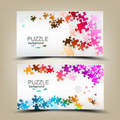 Business cards with mosaic made from puzzle pieces — Vector de stock