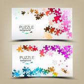 Cartões de visita com mosaico feito de peças de quebra-cabeça — Vetorial Stock