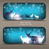 Elegant jul banners med hjortar. — Stockvektor