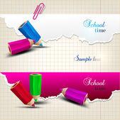Banderas de papel rasgado con espacio para texto. tiempo de la escuela — Vector de stock