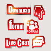 "Paper website elements: ""Download"", ""Forum"", ""Live Chat"" — Stock Vector"