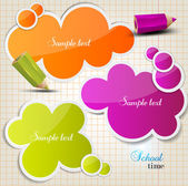 Colorful bubbles for speech on chequered sheet — Stock Vector