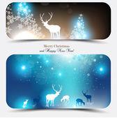 Banners de navidad elegante con venados. — Vector de stock