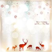Hermoso fondo de navidad con renos y lugar para el texto. — Vector de stock