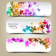 Set of three banners with mosaic made from puzzle pieces — Stock Vector