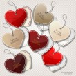 Set of bubbles, stickers, labels, tags. Shape of hearts. Valenti — Imagen vectorial