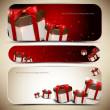 Set of three banners with gifts. Vector illustration — Stock vektor