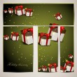 Set of holiday banners with gifts. Vector illustration — Stock Vector