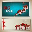 Set of discount banners with gifts. Vector background — Stok Vektör