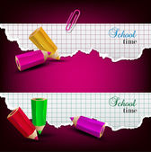 Torn paper banners with space for text. School time — Stock Vector