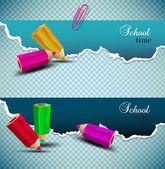 Roztrhaný papír bannery s prostorem pro text. čas strávený ve škole — Stock vektor