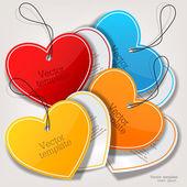 Conjunto de bolhas, adesivos, rótulos e etiquetas. forma de coração — Vetorial Stock