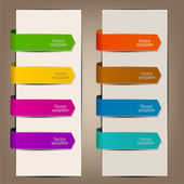 Colorful bookmarks and arrows for text — Vector de stock