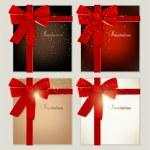 Colección de tarjetas de regalo con cintas. Fondo de Vector — Vector de stock