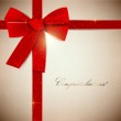 Holiday banner with red ribbons. Vector background. — Stock Vector