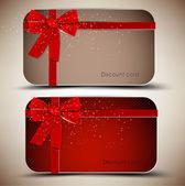 リボンをもつ贈り物カードのコレクションです。ベクトルの背景 — ストックベクタ