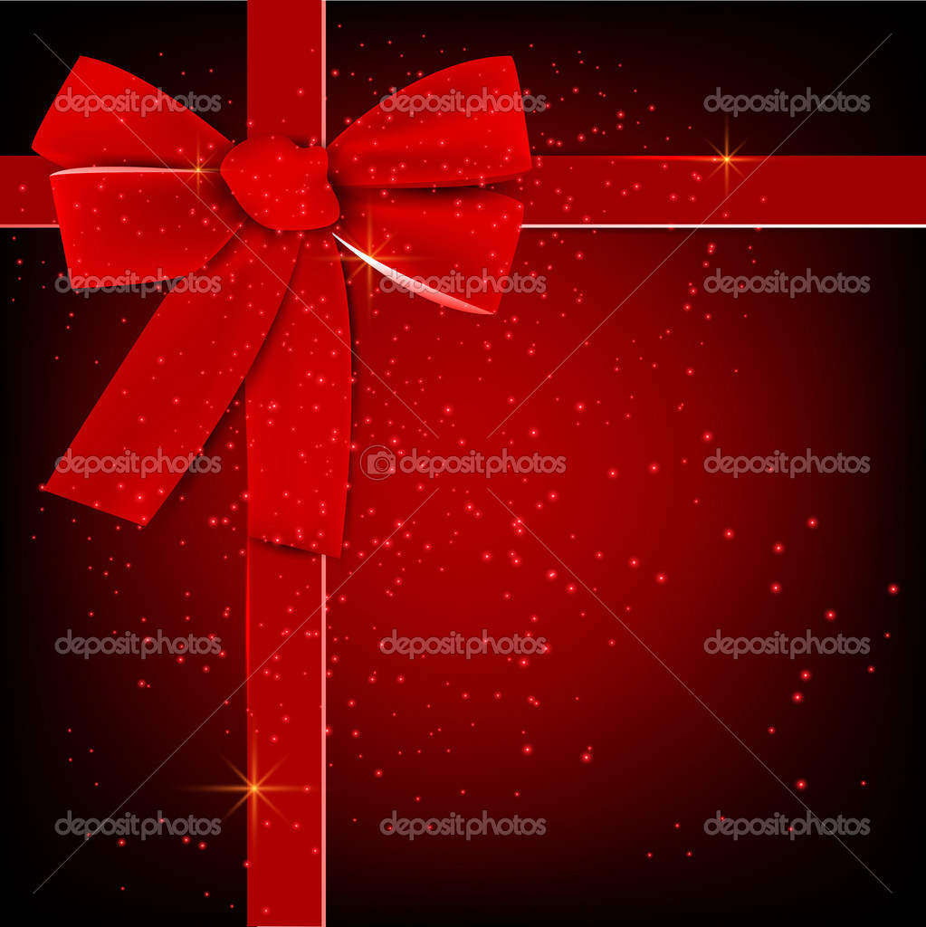 Holiday banner with red ribbons. Vector background. — Векторная иллюстрация #12867714