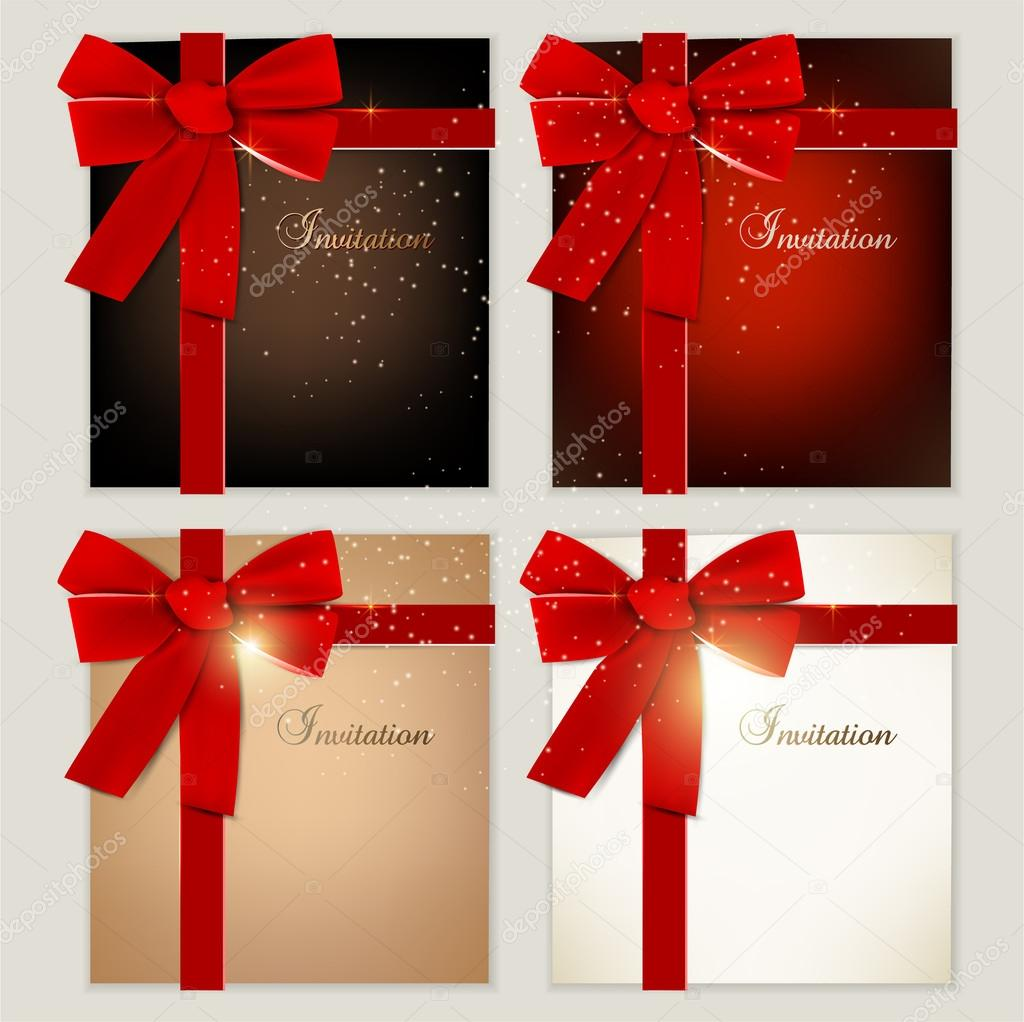 Collection of gift cards with ribbons. Vector background  Stock Vector #12867715