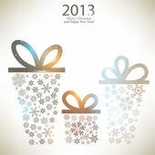 Cajas de regalo de navidad hechocon de copos de nieve. fondo de navidad — Vector de stock