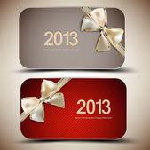 Auflistung von geschenkkarten mit bändern. 2013 — Stockvektor