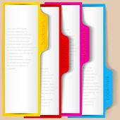 πολύχρωμο σελιδοδείκτες και πανό με χώρο για κείμενο — Διανυσματικό Αρχείο
