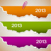 Torn paper banners with space for text. 2013 — Stock Vector