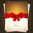 Greeting card with red bow and copy space. Vector illustration — Stock Vector