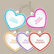Set of bubbles, stickers, labels, tags. Shape of hearts — Stock Vector