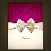 Gratulationskort med vit rosett och kopiera utrymme. vektor illustration — Stockvektor
