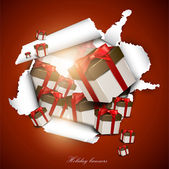 Torn paper with gift boxes. Holiday background — Stock Vector