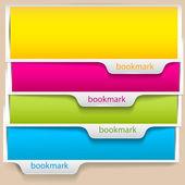 Segnalibri colorati e striscioni con posto per testo — Vettoriale Stock