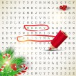 Solution of puzzle.Text  Merry Christmas highlighted with red  — Stock Vector