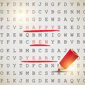 Gelukkig nieuwjaar! tekst gemarkeerd met een rood potlood. vector backgro — Stockvector